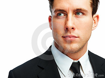 Young business man isolated over white