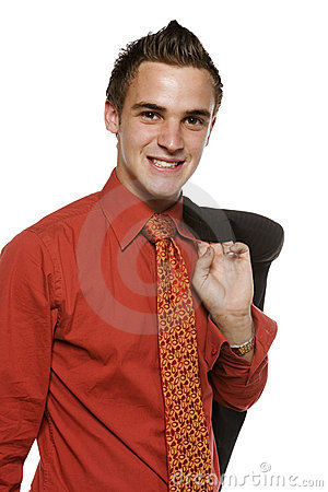 Young business man with jacket over shoulder