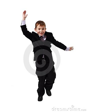 Young business man jumping