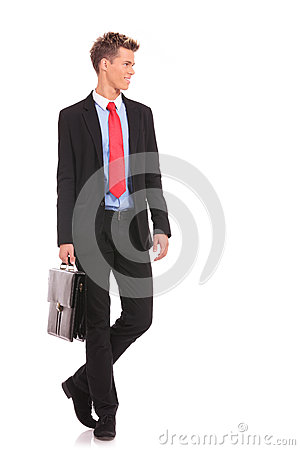 Young business man  looking to his side