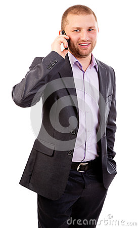 Young business man on mobile phone