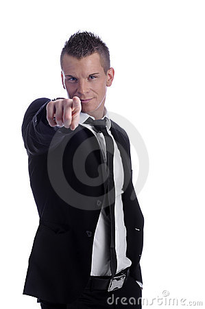 Young business man pointing with his finger