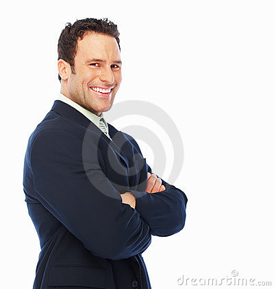 Young business man posing against white background