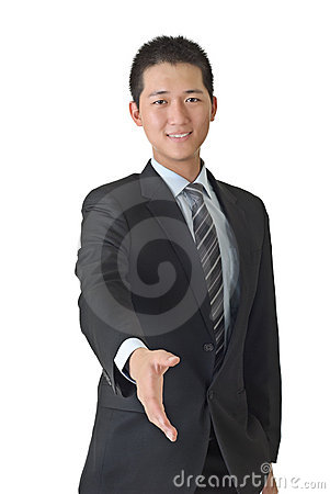 Young business man shake hand