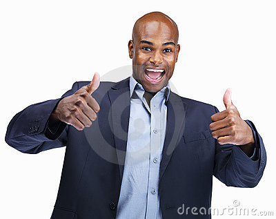 Young business man showing thumbs up sign