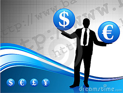 Young business man silhouette with currency
