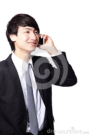 Young business man using cell phone