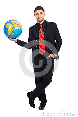 Young business man,World at a Glance