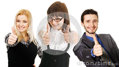 Young business people showing Thumbs Up sign