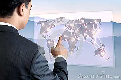 Young Business Person Pointing on the Map.