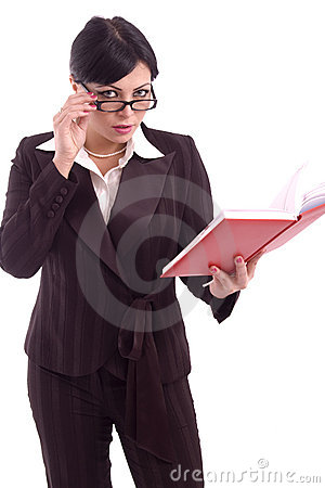 Young business woman checking her agenda