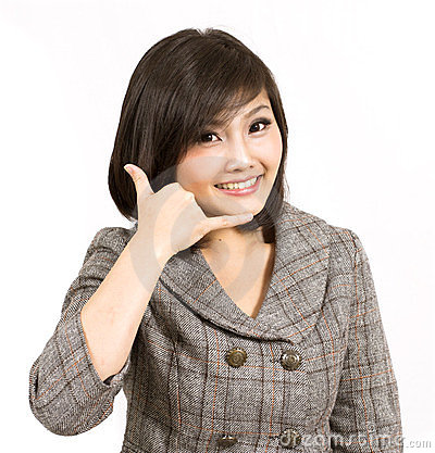 Young business woman gesturing
