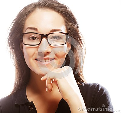 Young business woman in glasses