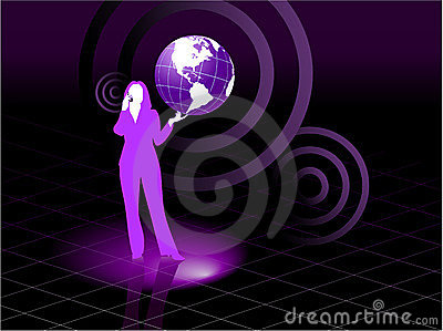 Young business woman global communication concept