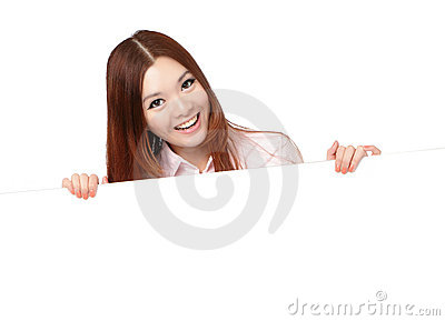 Young Business Woman Happy Showing blank billboard