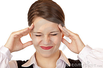 Young business woman has strong migraine