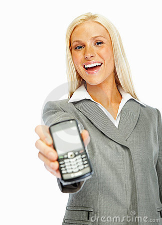 Young business woman holding a mobile phone