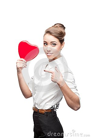 Young business woman holding Valentine