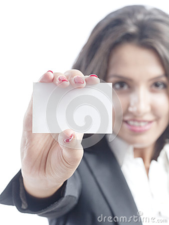 Young business woman holding visit card