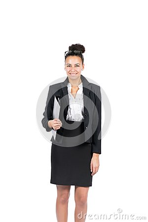 Young business woman holds a file