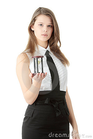 Young business woman with hourglass