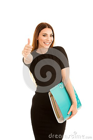 Free Young Business Woman In Black Dress Holds A Folder Shows Thumb U Stock Images - 116822744