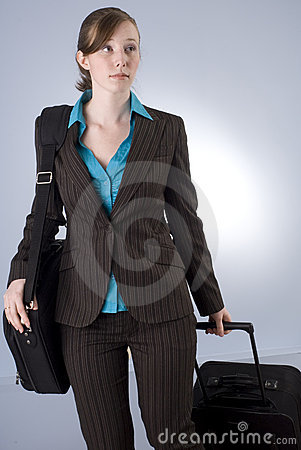 Young Business Woman with Luggage