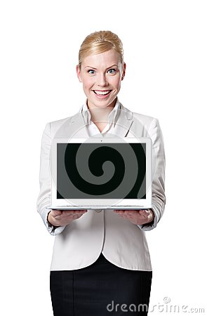 Young business woman offers laptop