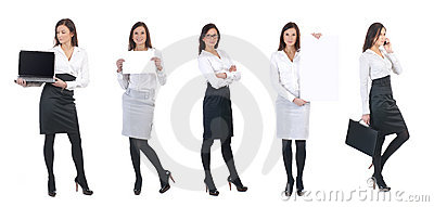 A young business woman with office items
