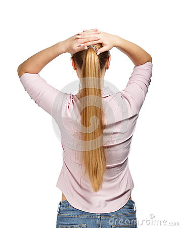Free Young Business Woman On White Background Back View Stock Images - 35194284