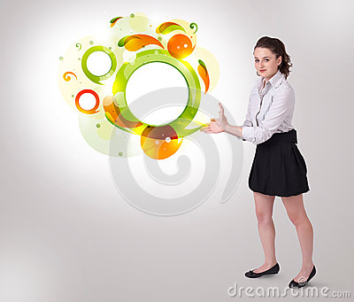 Young business woman presenting abstract copyspace