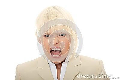 Young business woman shouting