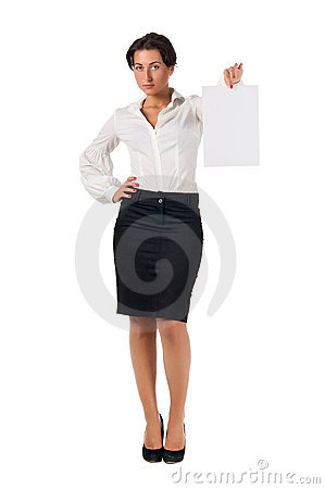 Young business woman show blank paper page