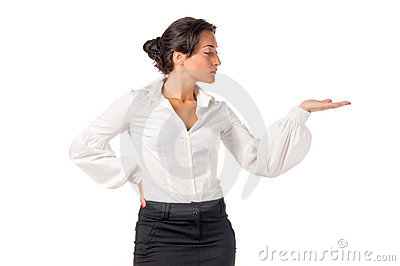 Young business woman show something on her hand