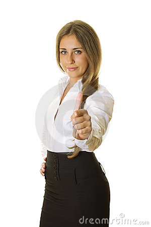 Young business woman showing thumb up Stock Photo