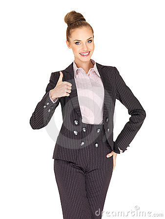 Young business woman showing thumb up