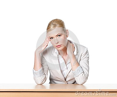 Young business woman sitting at a office desk