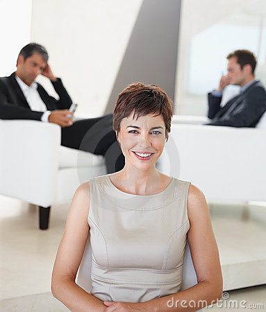 A young business woman smiling