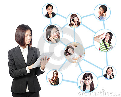 Young business woman in social network