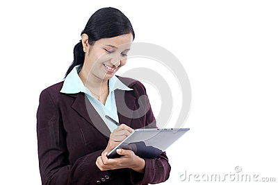 Young business woman with tablet and stylus Stock Photo