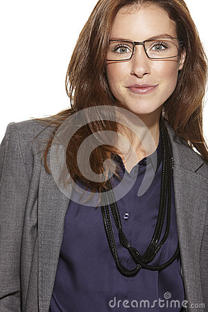 Young business woman wearing glasses Stock Photo
