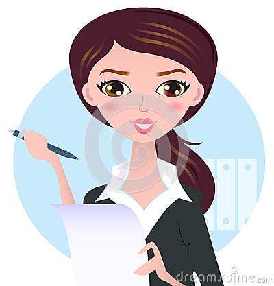Free Young Business Woman With Pen Royalty Free Stock Image - 30501286