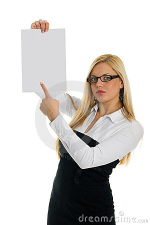 Young business women pointing at blank paper
