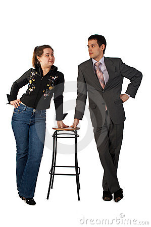 Free Young Businessman And Girl With Stool Royalty Free Stock Image - 4852706