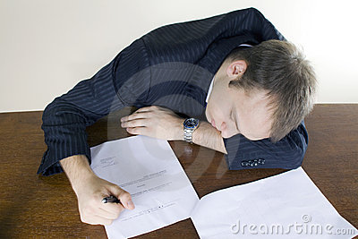 Young businessman Asleep in the office