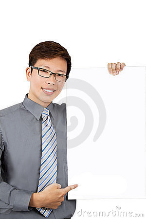 Young businessman with blank board