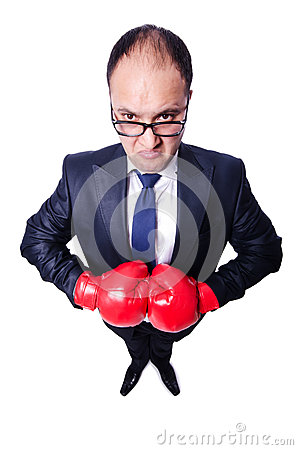 Young businessman boxer
