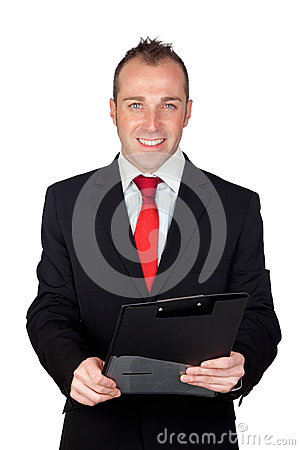 Young businessman with a clipboard