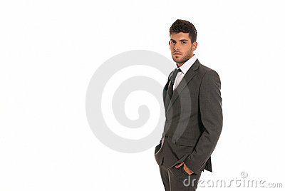 Young businessman copy-space look hands in pocket