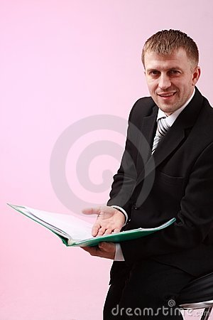 Young businessman with document
